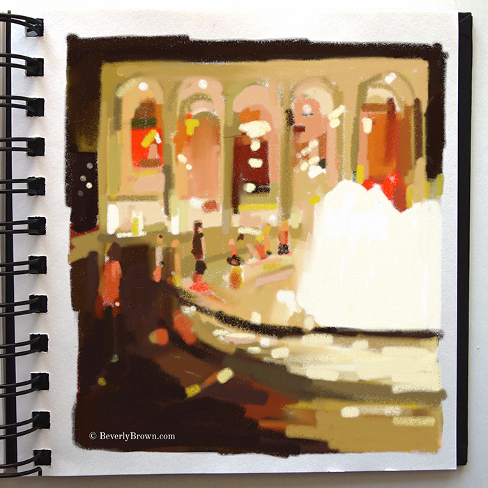 Lincoln Center at Night - Artists Sketchbook by Beverly Brown