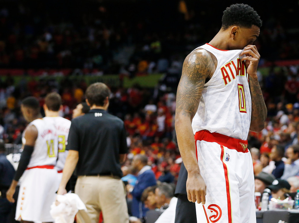. Atlanta Hawks guard Jeff Teague (0) walks off the court after Game 3 of the second-round NBA basketball playoff series against the Cleveland Cavaliers, Friday, May 6, 2016, in Atlanta. Cleveland won 121-108 and leads the best-of-seven series 3-0. (AP Photo/John Bazemore)