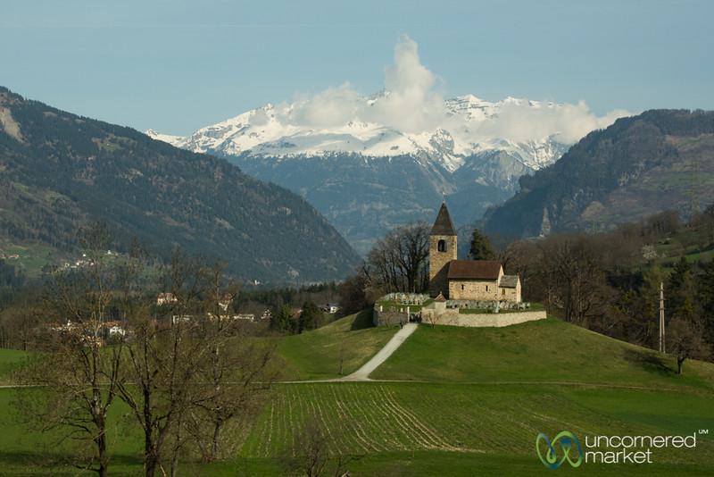 Bernina Express Views, Little Church on Hill - Switzerland