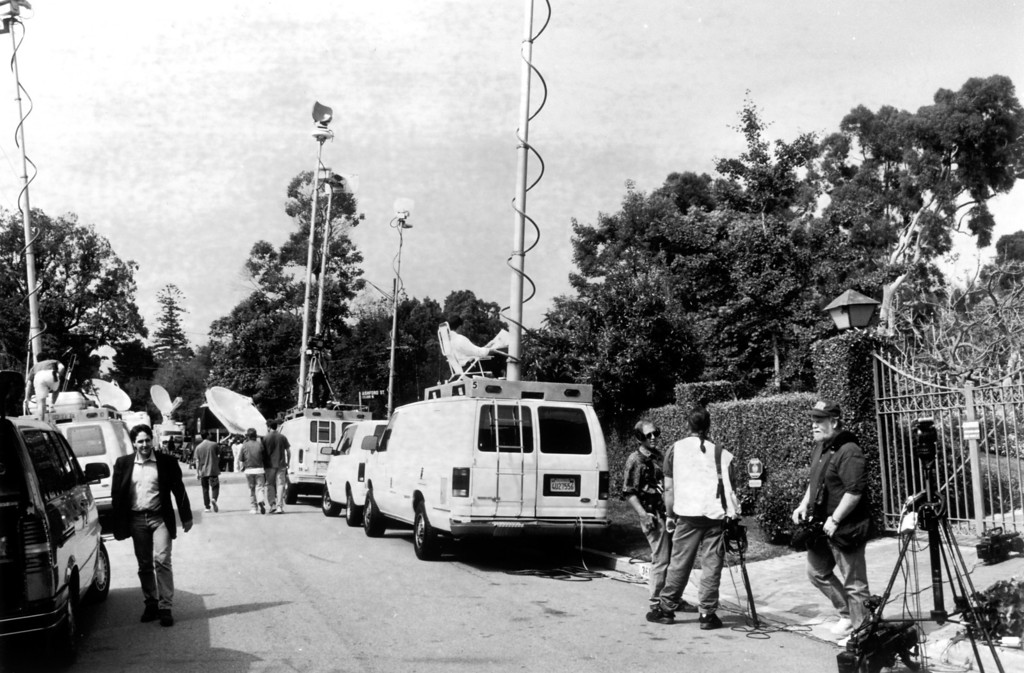 . Media fill up streets and gated entrances around the Rockingham Ave. home of O.J. Simpson.   (6/14/94)   (Los Angeles Daily News file photo)