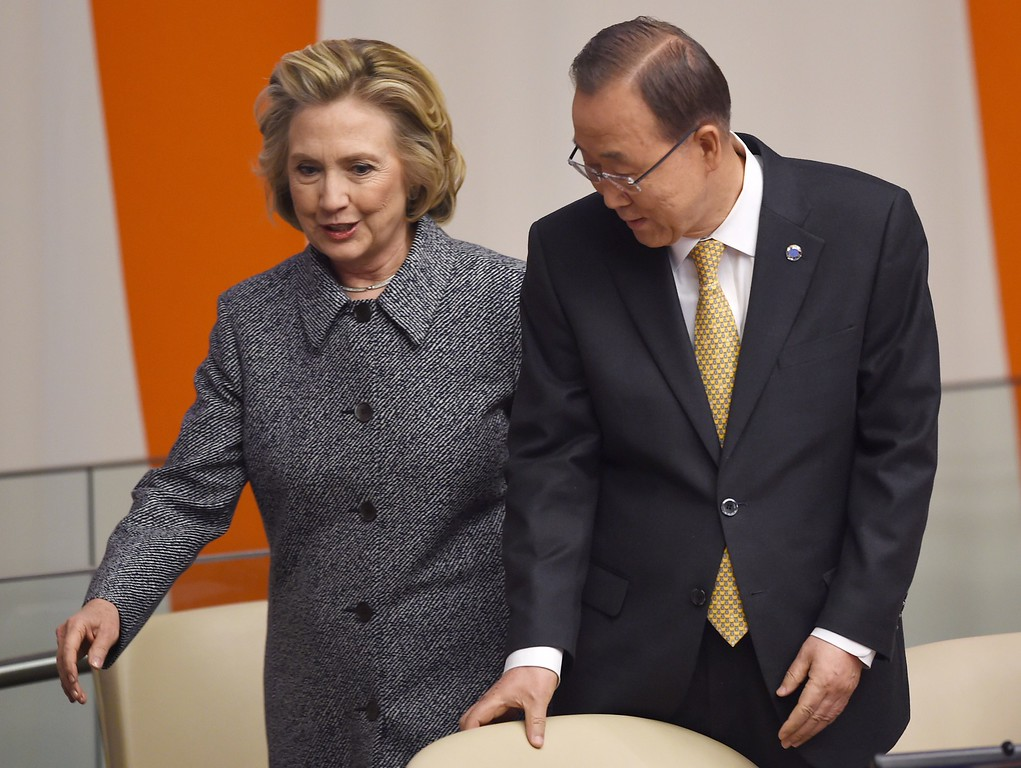 . United Nations Secretary General Ban Ki-moon (R) and Hillary Clinton arrive at the Annual Womens Empowerment Principles, entitled Unlimited Potential:  Business Partners for Gender Equality  March 10, 2015 at the United Nations in New York.         (DON EMMERT/AFP/Getty Images)