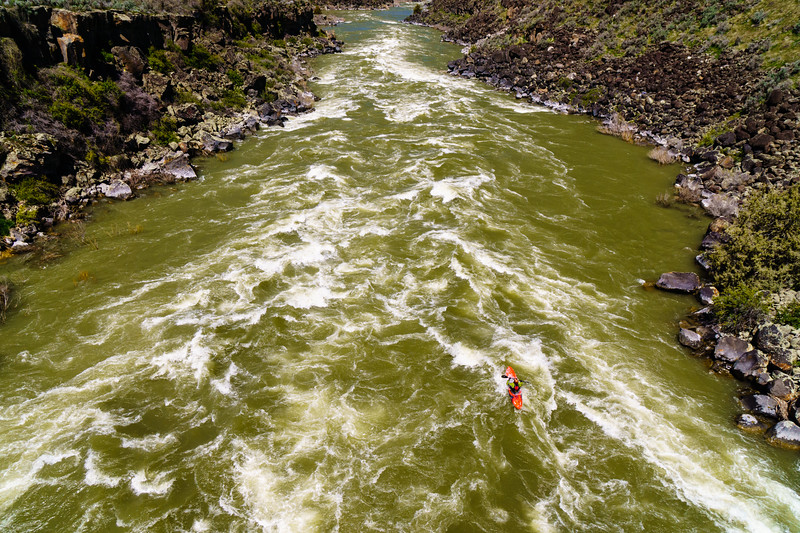 Wally Macfarlane getting his face wet at the beginning of the Murtaugh run on the Snake in Idaho during high water.