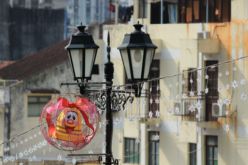 Funny, if not slightly evil, street Christmas Decoration, Macau
