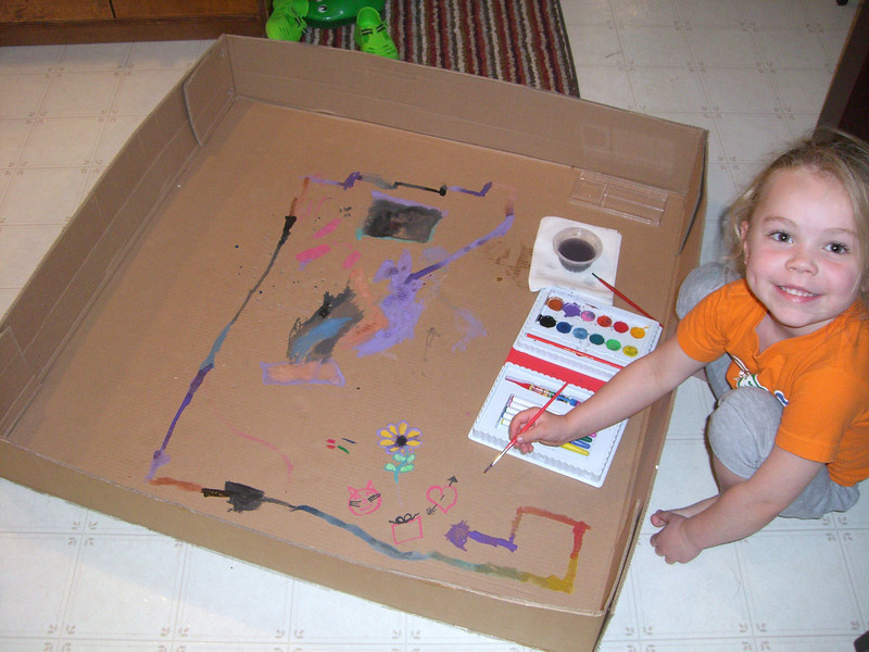 A cardboard box lid made an awesome painting canvas!