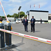 The Chief Minister of Gibraltar Fabian Picardo checks the new traffic barrier controls at the exit between Gibraltar and Spain. The new controls will allow for greater ease of obtainging information on delays at the border.