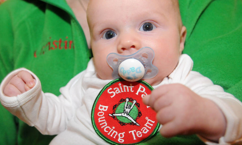 . The youngest future puller of the Saint Paul Bouncing Team is 11 week old Joseph Pearson, held by mom Christine Pearson, a current Bounce Girl. (Pioneer Press: Sherri LaRose-Chiglo)