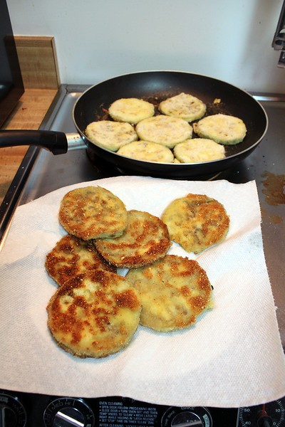 Making eggplant parmesan with Lieber's gluten-free Passover breading