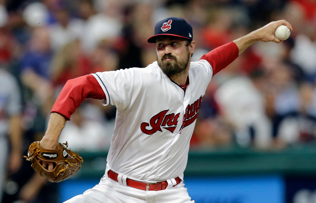 . Cleveland Indians relief pitcher Andrew Miller delivers in the seventh inning of an interleague baseball game against the Los Angeles Dodgers, Tuesday, June 13, 2017, in Cleveland. (AP Photo/Tony Dejak)