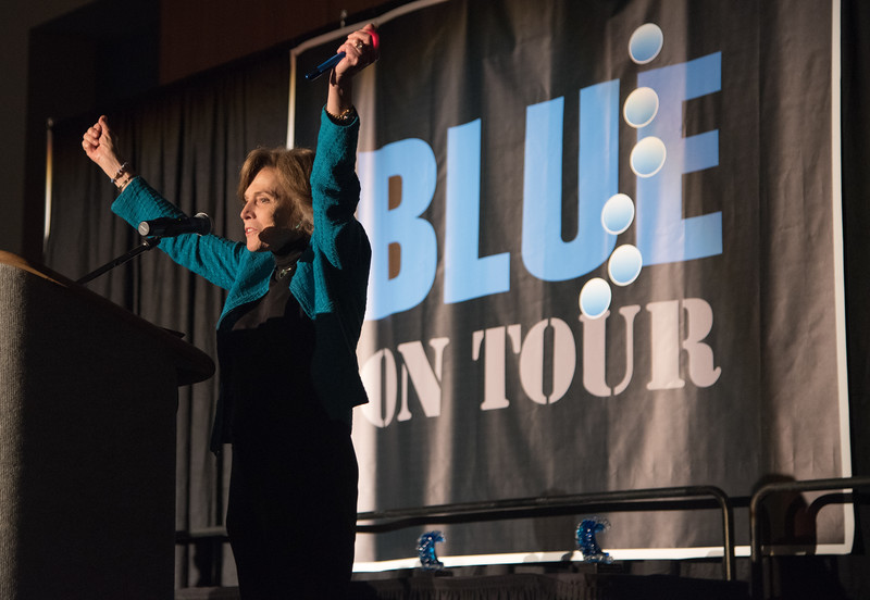 Dr. Sylvia Earle enthusiastically addresses the crowd at the Blue On Tour Film Festival.