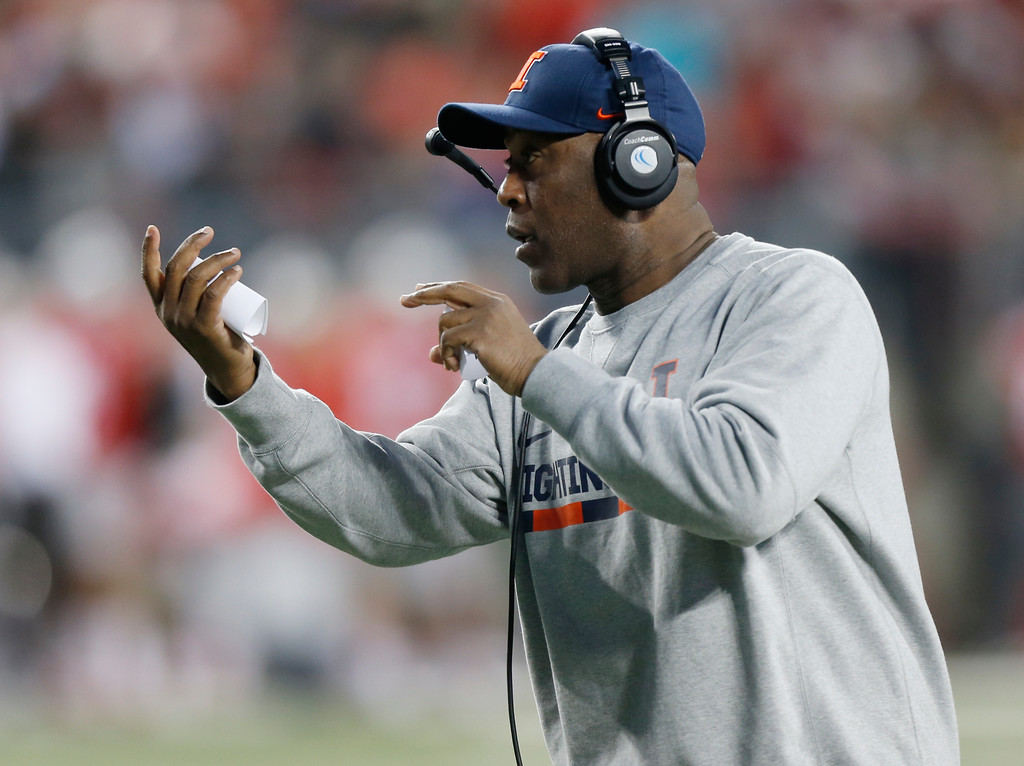 . Illinois head coach Lovie Smith instructs his team against Ohio State during the first half of an NCAA college football game Saturday, Nov. 18, 2017, in Columbus, Ohio. (AP Photo/Jay LaPrete)