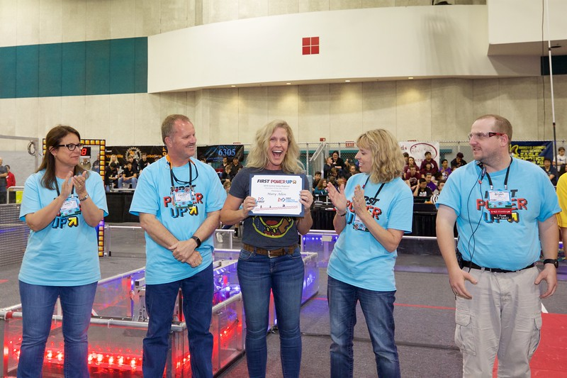 Mary Allen from Team 6305, Stable Circuits, is awarded CVR's 2018 Volunteer of the Year