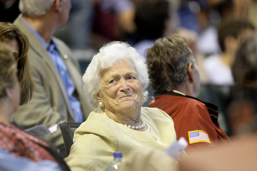 . Former President George H.W. Bush, right, and his wife Barbara during the third inning of a Major League Baseball game Saturday, April 18, 2009 in Houston. (AP Photo/David J. Phillip)