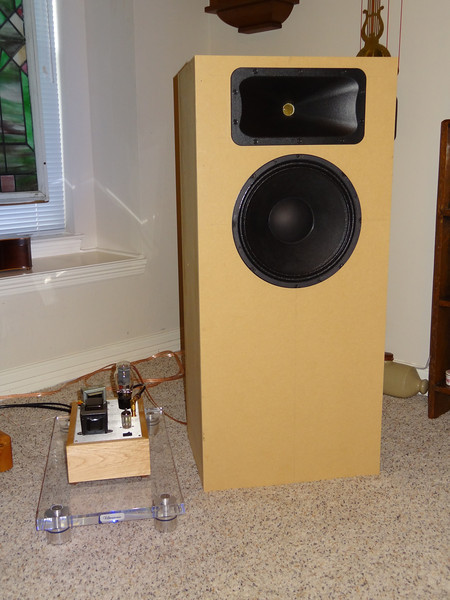 This version of the Audio Karma Econowave uses an Eminence Delta 12 LFA woofer with the recommended Selenium compression driver and a Dayton waveguide. It's 4 cu ft enclosure is optimal for this woofer, and with 95dB sensitivity it is easily driven to room filling levels by that 3 watt Bottlehead 2A3 SET amp pictured beside it.