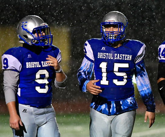 11/9/2018 Mike Orazzi | Staff Bristol Eastern's Matthew D'Amato (9) and Trinidad Gonzalez (15) during Friday night football with Manchester in Bristol.