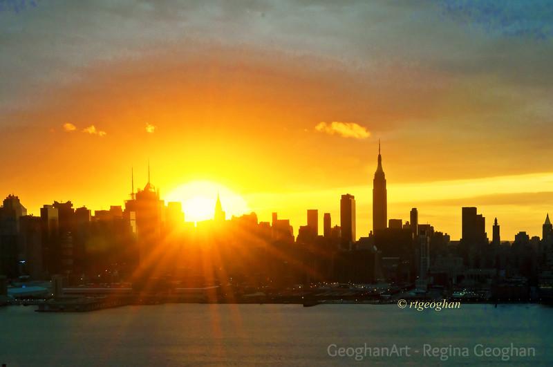 Day 289: NY Skyline Sunrise - Oct 15.  Sunday sunrise over midtown Manhattan.