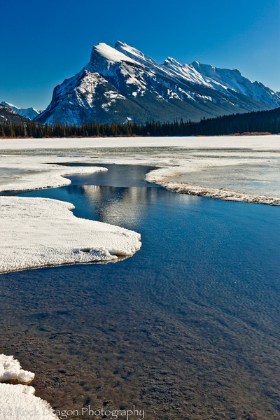Mount Rundle and Vermillion Lakes in Banff National Park.