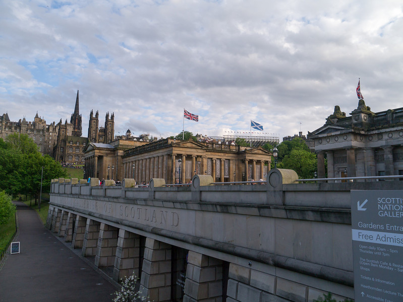 Royal Scottish Academy with the stands at the Castle in the background