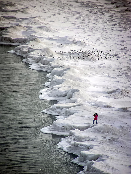 The Photographer in Red Jacket, Lake Michigan, Edgewater, Chicago