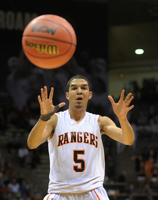 . BOULDER, CO. - MARCH 15: Rangers forward Jordan Scott anticipated a pass in the second half. The Lewis-Palmer High School boy\'s basketball team defeated Wasson 61-54 Friday night, March 15, 2013 at the Coors Events Center in Boulder.  The Rangers will meet Valor Christian in the 4A championship game Saturday. (Photo By Karl Gehring/The Denver Post)