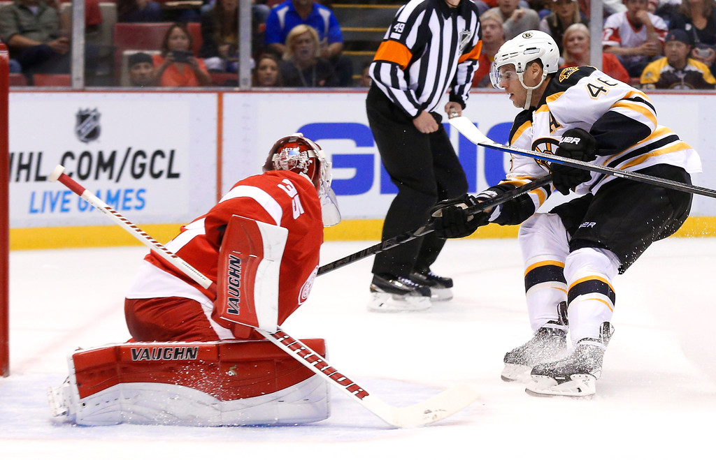 . Boston Bruins center David Krejci (46), of the Czech Republic, scores against Detroit Red Wings goalie Jimmy Howard (35) in the first period of an NHL hockey game in Detroit, Wednesday, Oct. 15, 2014. (AP Photo/Paul Sancya)