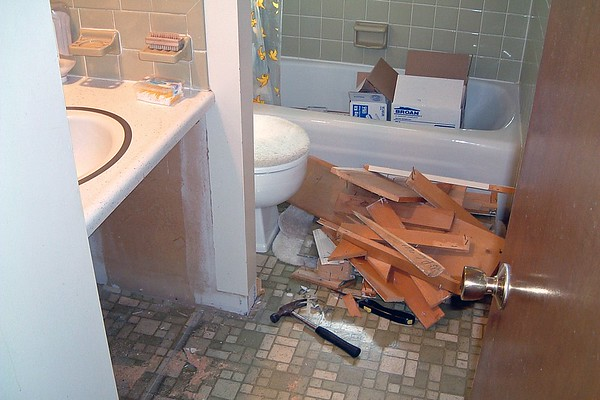 March 14 - May 3, 2005:  Renovating the upstairs bathroom .  .  .