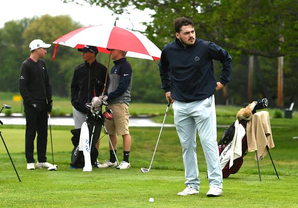 5/22/2018 Mike Orazzi | Staff Naugatuck's Arbner Mehmedi during Tuesday's golf match at Chippanee Golf Club in Bristol.