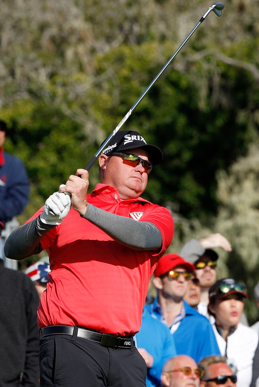 . Ted Potter Jr. tees off from the 17th hole at the Pebble Beach Golf Links during the final round of the AT&T Pebble Beach Pro-Am on Sunday, Feb. 11, 2018.  Potter went on to win the tournament by three strokes with a -17.  (Vern Fisher - Monterey Herald)