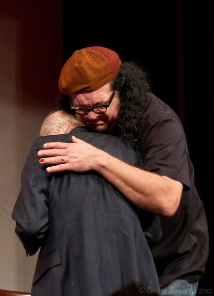 "Saturday Night Keynote Presentation: Penn & Teller - ""38 Years of Magic & BS""  ---- James Randi making a presentation to Penn & Teller --- Hugs!"