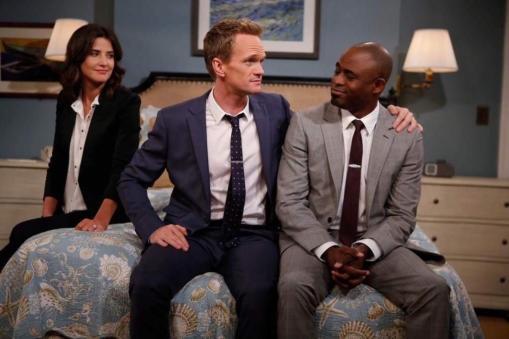 ". ""Coming Back\"" -- The wedding weekend is here! Robin (Cobie Smulders) and Barney (Neil Patrick Harris) share a  moment with James (Wayne Brady) before the chaos begins. The ninth season of HOW I MET YOUR MOTHER premieres with a special one-hour episode, Monday, Sept. 23 (8:00-9:00 PM, ET/PT) on the CBS Television Network. Photo: Cliff Lipson/CBS ���© 2013 CBS Broadcasting, Inc. All Rights Reserved."
