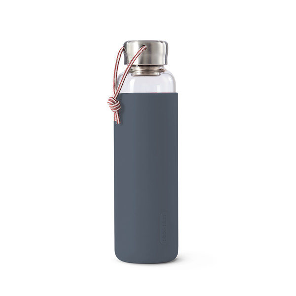 Glass Water Bottle slate Black Blum
