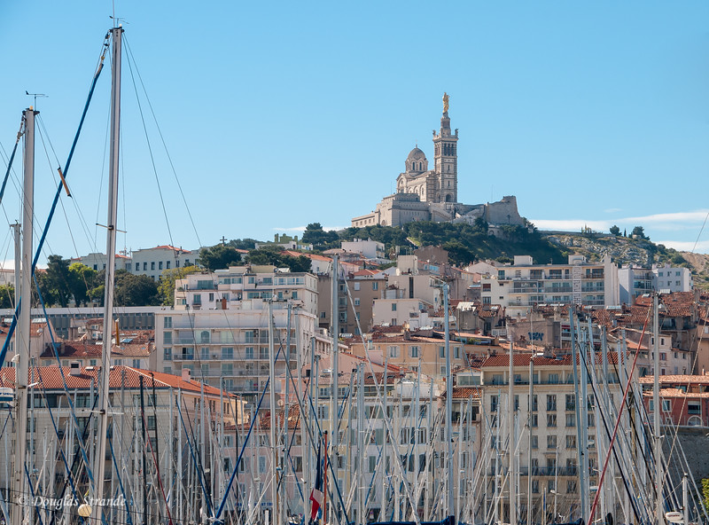 Marseille, France: Notre-Dame de la Garde seen from the port