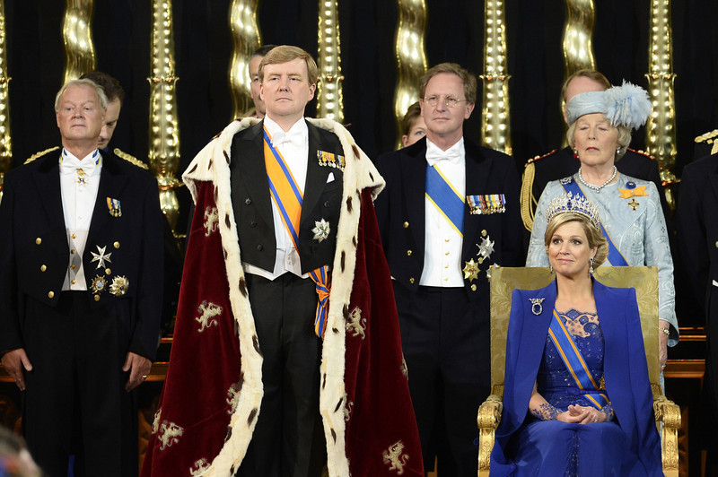 . Dutch King Willem-Alexander, Queen Maxima and members of the royal household during the inauguration for King Willem-Alexander of the Netherlands at Nieuwe Kerk (New Church) in Amsterdam on April 30, 2013.  LEX VAN LIESHOUT/AFP/Getty Images