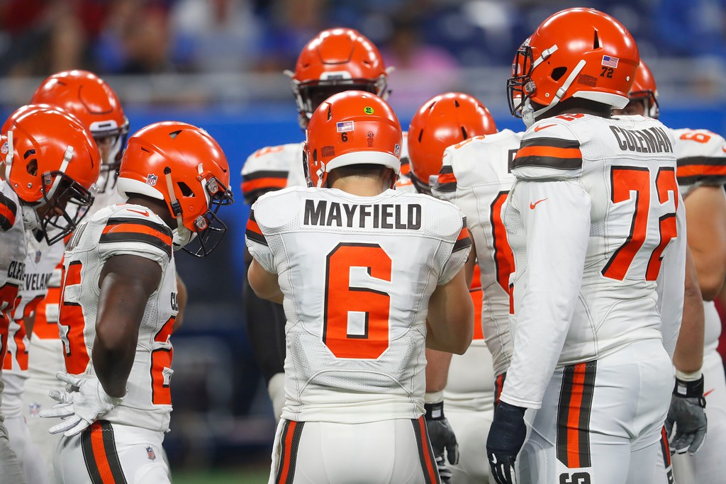 . Cleveland Browns quarterback Baker Mayfield huddles with his teammates during the first half of an NFL football preseason game against the Detroit Lions, Thursday, Aug. 30, 2018, in Detroit. (AP Photo/Paul Sancya)