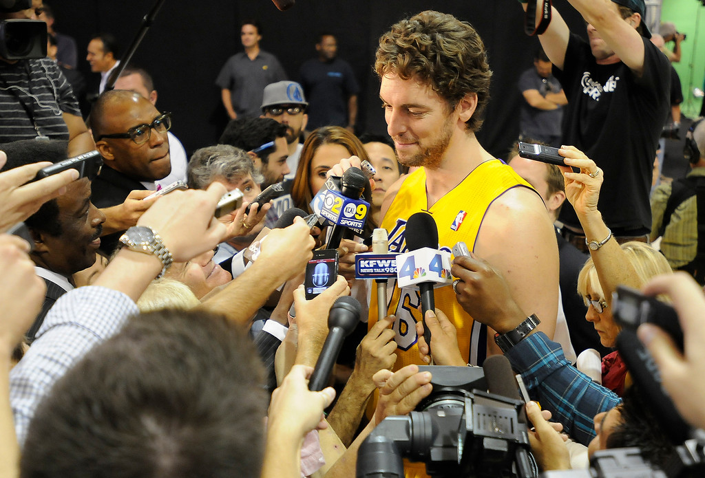 . Pau Gasol is interviewed. The Los Angeles Lakers held a media day at their El Segundo practice facility. Players were photographed for team materials, and interviewed by the press. El Segundo, CA. 9/27/2013. photo by (John McCoy/Los An8eles Daily News)