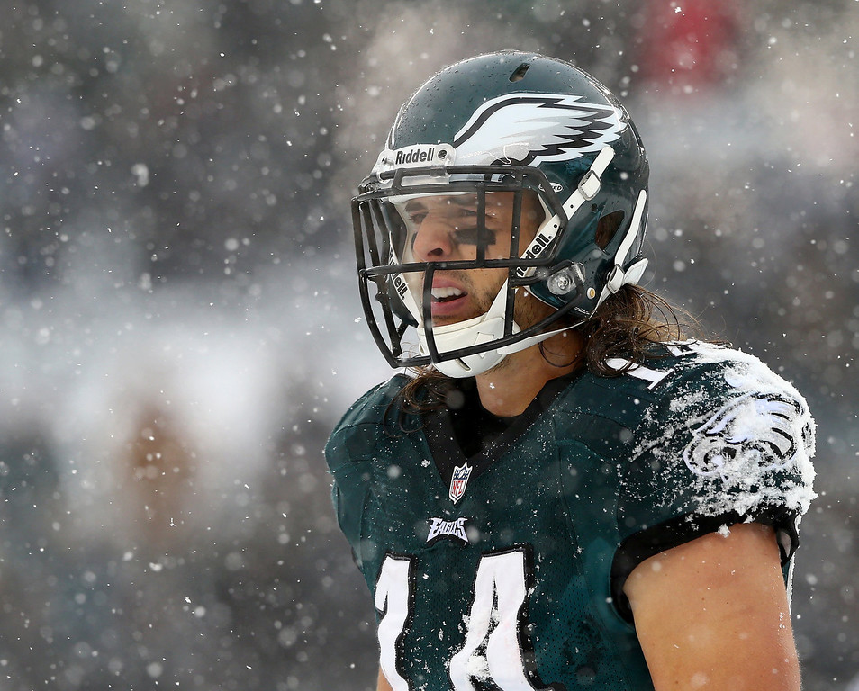 . Riley Cooper #14 of the Philadelphia Eagles looks on in between plays in the third quarter against the Detroit Lions on December 8, 2013 at Lincoln Financial Field in Philadelphia, Pennslyvania.  (Photo by Elsa/Getty Images)