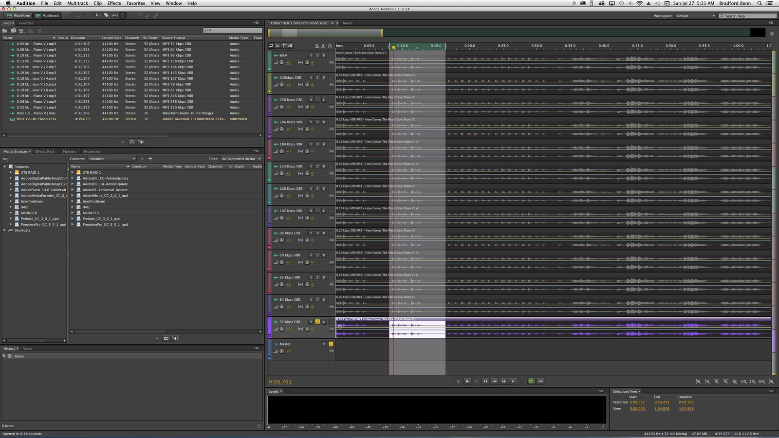 This image shows the way multiple tracks were stacked and then individually soloed in Audition