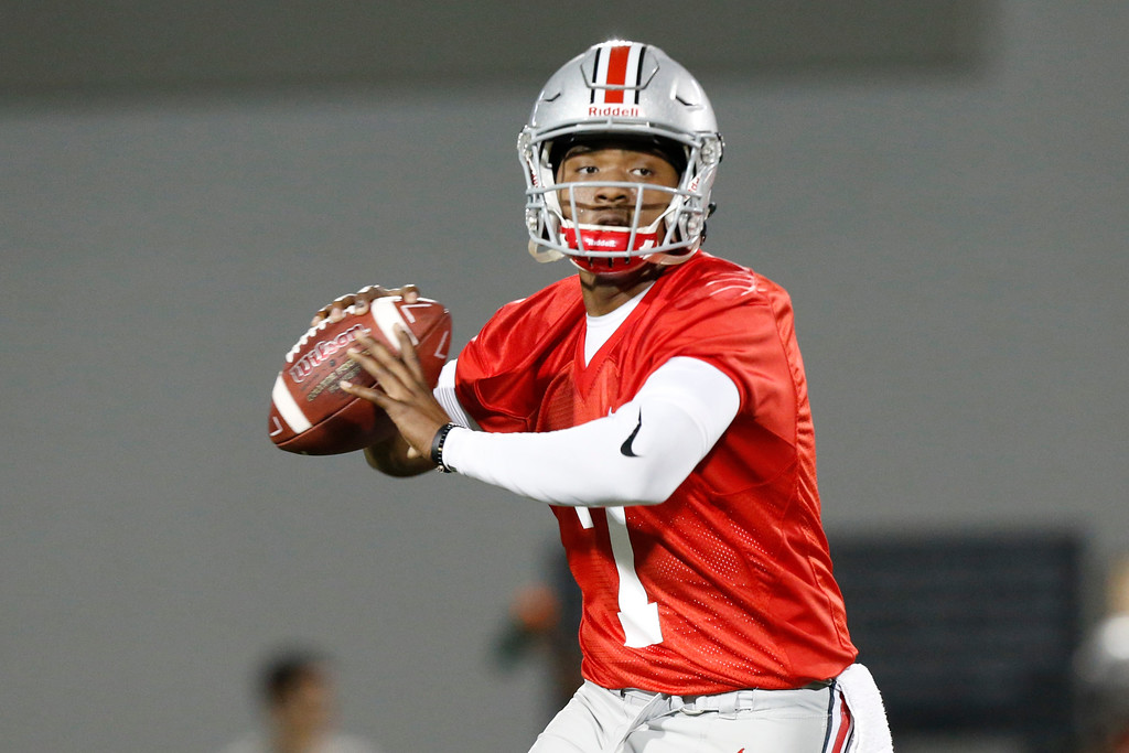 . Ohio State quarterback Dwayne Haskins runs a drill during their Spring NCAA college football practice Tuesday, March 7, 2017, in Columbus, Ohio. (AP Photo/Jay LaPrete)
