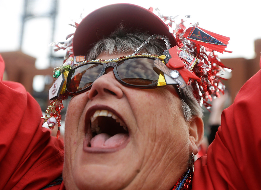 . Dawn Schallenberg, of Bethalto, Ill. cheers before Game 6 of the National League baseball championship series between the St. Louis Cardinals and the Los Angeles Dodgers, Friday, Oct. 18, 2013, in St. Louis. (AP Photo/Jeff Roberson)