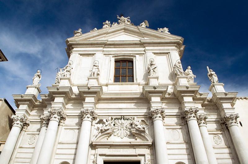 Facade of the baroque church of Gesuiti (Jesuit), Cannaregio quarter, Venice, Italy