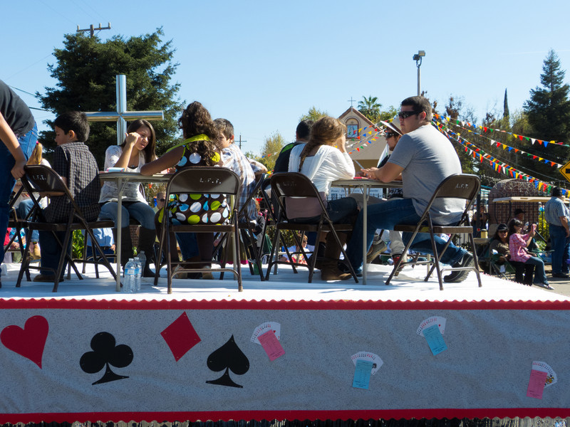 """Card Sharks! At the annual Portuguese """"Our Lady of Fatima"""" Celebration parade in Thorton, CA."""