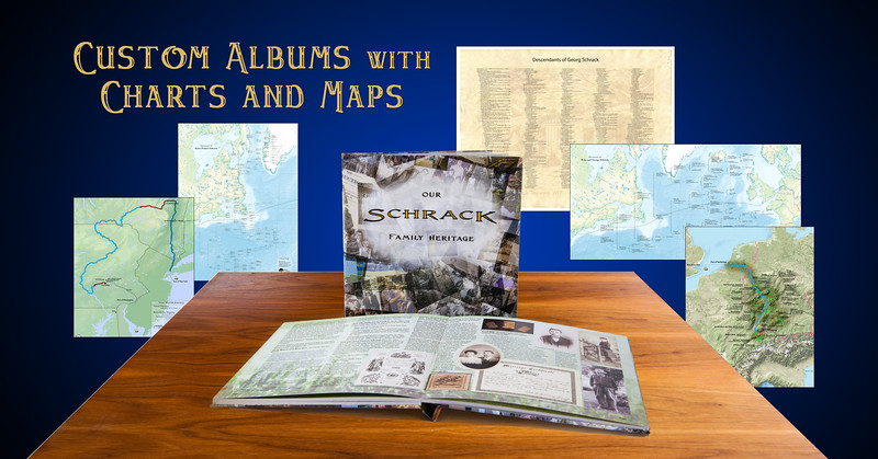 This FAMILY PACKAGE  included a choice of a Deluxe Album or Book, a Descendant Chart, 3 Genealogy Tree Charts, a Map of Immigrant Origins, showing both town names and immigrant names, and a New World Journey Map.  The deluxe album and book included many restored images along with detailed ancestry narratives.