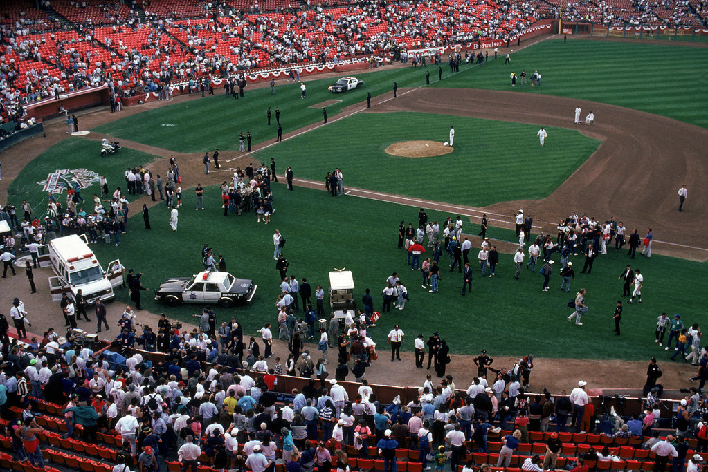 . General view of the crowds in Candlestick Park after a 6.9 magnitude earthquake rocks game three of the World Series between the Oakland A\'s and San Francisco Giants at Candlestick Park on October 17, 1989 in San Francisco, California.    (Photo by Otto Greule Jr /Getty Images)