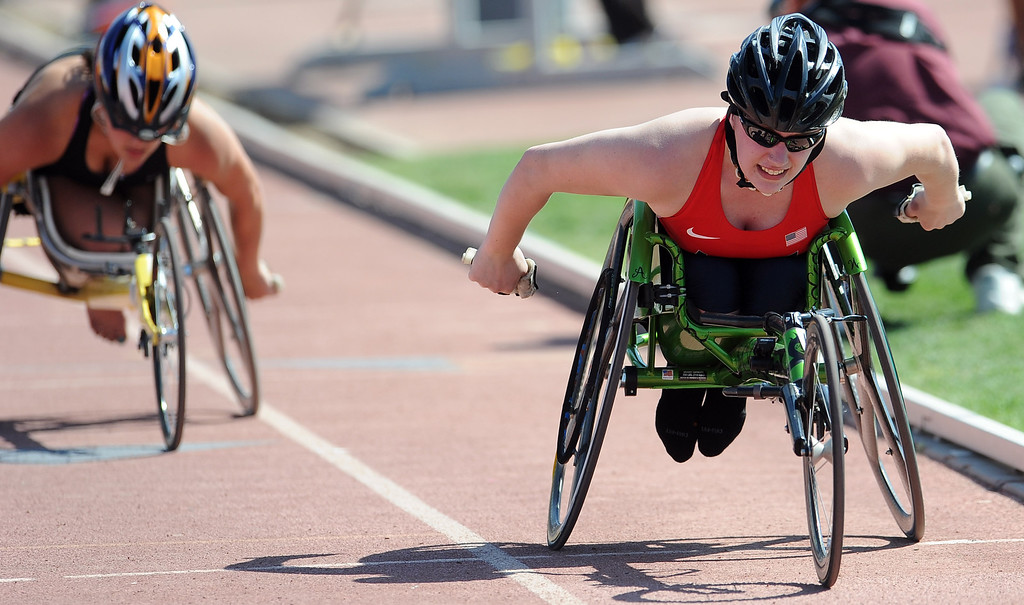 . Amber Weber wins the 800 meter wheelchair race during the Mt. SAC Relays in Hilmer Lodge Stadium on the campus of Mt. San Antonio College on Saturday, April 20, 2012 in Walnut, Calif.    (Keith Birmingham/Pasadena Star-News)