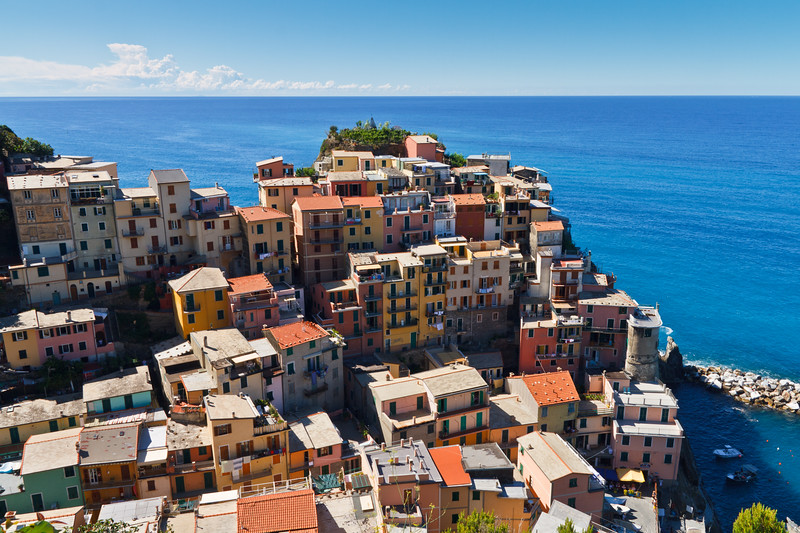 Stunning panoramic view on the Manarola village.