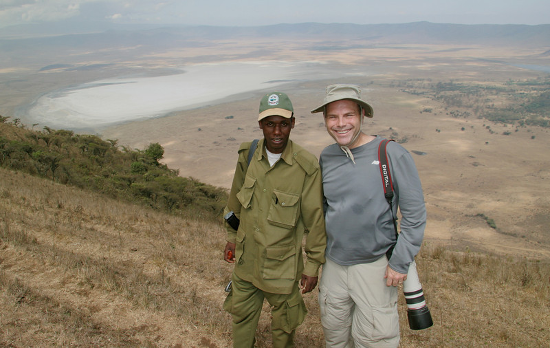 Our armed guide on a walk on the rim of the crater