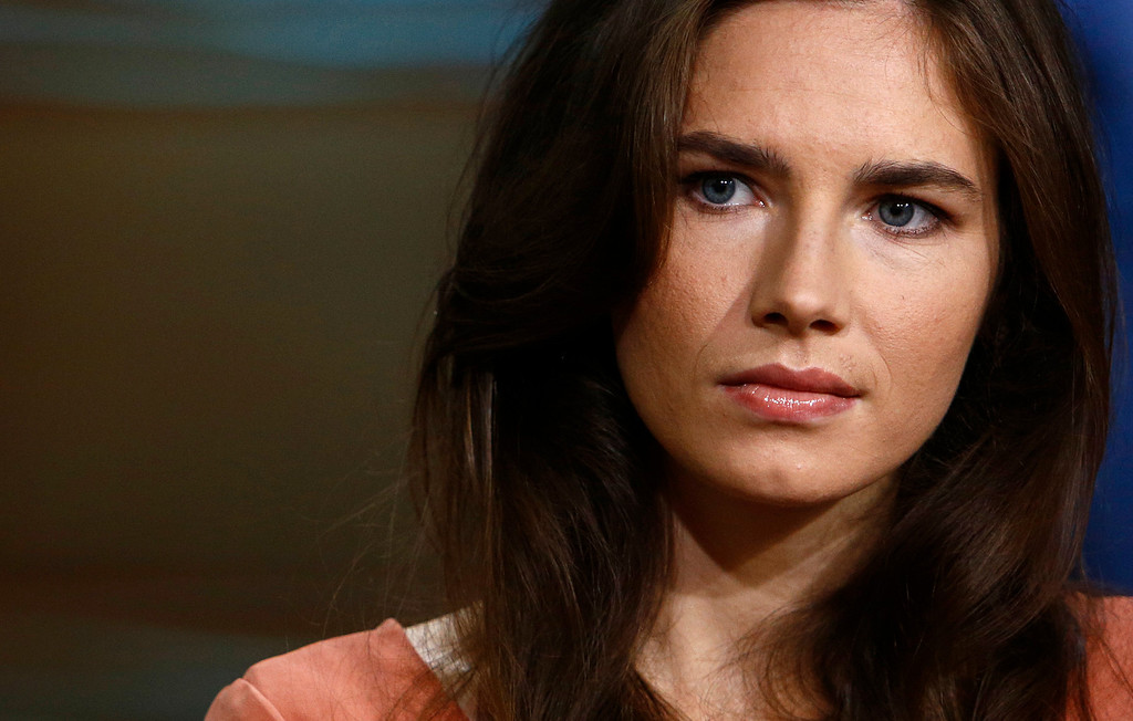 """. This image released by NBC shows Amanda Knox during an interview on the \""""Today\"""" show, Friday, Sept. 20, 2013 in New York. Knox defended her decision not to return to Italy for a new appeals trial over the 2007 killing of her British roommate, even as she acknowledged that \""""everything is at stake,\"""" insisting she is innocent. In March, Italy\'s supreme court ordered a new trial for Knox and her former Italian boyfriend. An appeals court in 2011 had acquitted both, overturning convictions by a lower court. Italian law cannot compel Knox to return for the new legal proceeding. (AP Photo/NBC, Peter Kramer)"""