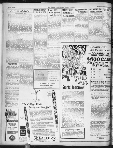 Daily Trojan, Vol. 22, No. 12, September 29, 1930