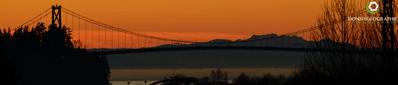 The Lions Gate Bridge at sunset !