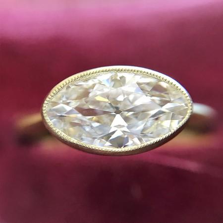 1.17ct Antique Moval Cut Diamond Bezel Ring
