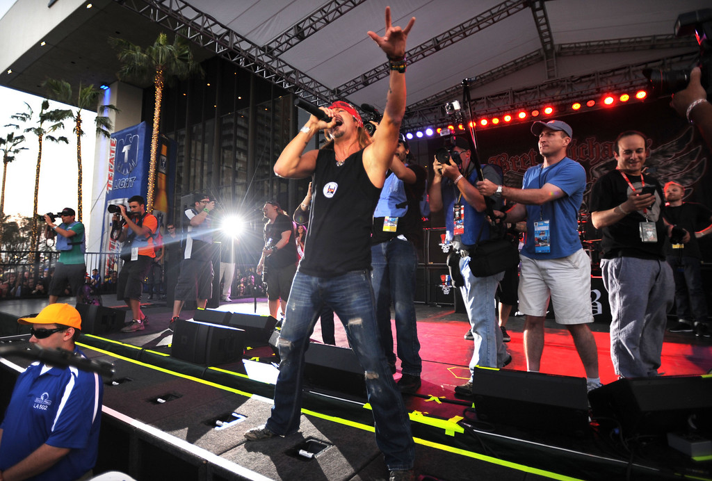 . Long Beach, Calif., -- 04-20-13-   Bret Michaels performs  Saturday during the 39 Annual Toyota Grand Prix of Long Beach.   Stephen Carr/  Los Angeles Newspaper Group